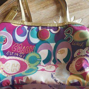 COACH Poppy C Graffiti RARE Kisslock Shoulder Bag